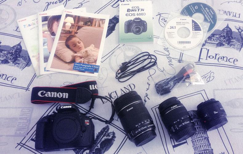 cam8, Canon T3i + Lentes 18-135mm e 50mm