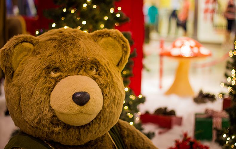 shopping, Papai Noel, ursinhos, renas e o Natal
